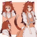 1girl absurdres animal_ears aochoku apron arm_sling bandage bandaged_arm brown_eyes brown_hair cat closed_eyes cowboy_shot eyebrows_visible_through_hair fang frilled_apron frilled_shirt frills hair_between_eyes highres long_hair looking_at_viewer multiple_views original parted_lips personification puffy_short_sleeves puffy_sleeves scuffed shirt short_sleeves simple_background tail tareme white_apron