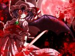 1girl bat_wings blood blood_splatter blue_hair evil evil_eyes evil_smile fangs grin highres looking_down moon red_eyes red_moon remilia_scarlet shimomu_(shimom2) short_hair smile touhou wings