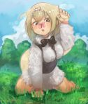 1girl absurdres anteater_tail blonde_hair blue_sky bow bowtie brown_eyes butterfly butterfly_on_nose clouds commentary_request day eyebrows_visible_through_hair fur_collar grass hairband hand_up highres insect kajitsu_ohima kemono_friends open_mouth outdoors short_hair silky_anteater_(kemono_friends) sky solo