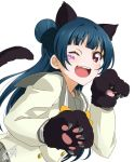 1girl ;d animal_ears bangs blue_hair bow bowtie cat_ears cat_tail double-breasted facial_mark fang gloves highres kemonomimi_mode long_hair long_sleeves looking_at_viewer love_live! love_live!_sunshine!! one_eye_closed open_mouth paw_gloves paws school_uniform serafuku side_bun signature simple_background smile solo tail takeya_yuuki tsushima_yoshiko upper_body uranohoshi_school_uniform violet_eyes white_background yellow_neckwear