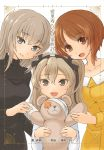 3girls :d ari_(ari_stotle0) artist_name bandage bangs black_sweater blue_eyes boko_(girls_und_panzer) brown_eyes brown_hair cast casual closed_mouth commentary_request cover cover_page dress eyebrows_visible_through_hair front_cover girls_und_panzer head_tilt highres holding holding_stuffed_animal itsumi_erika light_brown_hair long_hair long_sleeves looking_at_viewer multiple_girls nishizumi_miho novel_cover open_mouth ribbed_sweater shimada_arisu shirt short_hair side-by-side side_ponytail silver_hair smile standing stuffed_animal stuffed_toy sweater teddy_bear translation_request turtleneck upper_body white_shirt yellow_dress