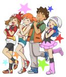 1boy 3girls :d bandanna bike_shorts black_legwear black_shorts blue_eyes blue_footwear blue_hair blush_stickers brown_hair closed_eyes dress gintarou_(puipuiginta) grey_pants haruka_(pokemon) hat kasumi_(pokemon) kneehighs long_hair looking_at_viewer multiple_girls one_eye_closed open_mouth orange_hair pants pink_footwear pokemon red_footwear shoes short_hair short_shorts shorts smile sneakers socks standing standing_on_one_leg star suspenders takeshi_(pokemon)