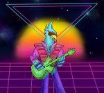 80s aesthetic antro ber bird cartoon_network eagle frank furry guitar instrument no_humans teen_titans vaporwave warner_bros