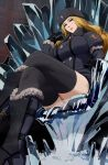1girl black_gloves black_legwear blonde_hair boots fur_hat fur_trim gloves hat ice ishii_takamori kolin long_hair looking_at_viewer sitting solo street_fighter street_fighter_v thigh-highs throne ushanka