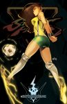 1girl alternate_costume arms_behind_back asymmetrical_hair ball breasts brown_hair dark_skin electricity highres interlocked_fingers knee_pads kneehighs large_breasts laura_matsuda long_hair looking_back metalhanzo ribbed_legwear shorts sleeveless soccer_ball soccer_uniform solo sportswear street_fighter street_fighter_v undercut wristband