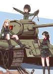3girls :d absurdres arm_support artist_name bangs black_footwear black_gloves black_hair black_skirt black_vest blonde_hair blue_eyes boots clara_(girls_und_panzer) closed_mouth emblem fang girls_und_panzer gloves green_jacket green_jumpsuit ground_vehicle helmet highres holding jacket katyusha light_frown long_hair long_sleeves looking_at_another looking_to_the_side military military_uniform military_vehicle miniskirt motor_vehicle multiple_girls nonna open_mouth pleated_skirt pointing pravda_(emblem) pravda_military_uniform red_shirt shirt short_hair short_jumpsuit signature sitting skirt smile standing swept_bangs t-34 tank tank_shell tegar32 turtleneck uniform vest