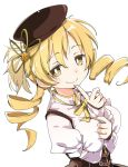 1girl beret blonde_hair drill_hair hair_ornament hairpin hat ixy magical_girl mahou_shoujo_madoka_magica simple_background smile solo tomoe_mami twin_drills white_background yellow_eyes