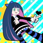 1girl animal_ears artist_request blue_hair blue_legwear blue_nails cat_ears gothic green_eyes long_hair looking_to_the_side nail_polish official_style panty_&_stocking_with_garterbelt pointing_finger pointing_to_the_side star stocking_(psg) tagme thigh-highs