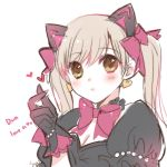 1girl animal_ears atobesakunolove black_cat_d.va black_gloves blonde_hair blush bow cat_ears character_name closed_mouth earrings eyebrows_visible_through_hair gloves green_eyes hair_bow hand_up heart heart_earrings jewelry long_hair looking_at_viewer mercy_(overwatch) overwatch pink_bow puffy_short_sleeves puffy_sleeves short_sleeves signature simple_background smile solo twintails white_background