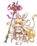 1girl ahoge animal_ears artist_request aura belt blonde_hair boots breasts bunny_girl bunnysuit cape closed_mouth commentary_request cosplay detached_collar djeeta_(granblue_fantasy) djeeta_(granblue_fantasy)_(cosplay) eyebrows_visible_through_hair fake_animal_ears flower full_body granblue_fantasy green_eyes hair_flower hair_ornament hand_up harvin headband holding holding_spear holding_weapon jewelry leotard long_hair looking_at_viewer loose_belt melissabelle pointy_ears polearm puffy_short_sleeves puffy_sleeves rabbit_ears sage_(granblue_fantasy) short_sleeves simple_background single_earring small_breasts solo spear standing tagme thigh-highs thigh_boots turtleneck very_long_hair weapon white_background white_footwear white_legwear white_leotard wrist_cuffs
