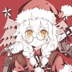 1girl :< ahoge atobesakunolove bell blonde_hair blush braid chinese_commentary christmas christmas_tree closed_mouth commentary_request copyright_request eyebrows_visible_through_hair fur_trim glasses hair_bell hair_ornament hammer hat holding looking_at_viewer red_hat santa_costume santa_hat solo tearing_up tears twin_braids yellow_eyes