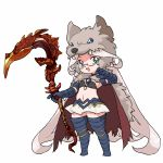 1girl aqua_eyes armor armored_boots artist_request berserker_(granblue_fantasy) bikini_top boots breasts cape cloak commentary_request cosplay djeeta_(granblue_fantasy) djeeta_(granblue_fantasy)_(cosplay) fangs full_body fur gauntlets glasses gloves granblue_fantasy harvin holding holding_scythe holding_weapon long_hair midriff open_mouth pelt pleated_skirt pointy_ears scythe simple_background skirt small_breasts solo standing tagme thigh-highs thigh_boots very_long_hair weapon white_background white_hair wolf_pelt zahlhamelina