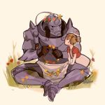 1boy 1girl alphonse_elric armor commentary crown dress elicia_hughes flower full_armor full_body fullmetal_alchemist grass head_wreath image_sample looking_at_viewer lowres pink_background simple_background sitting tumblr_sample twintails