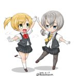 2girls asymmetrical_hair bangs black_legwear black_skirt black_vest blonde_hair blouse dancing dated flipped_hair full_body gloves green_eyes grey_eyes kantai_collection loafers maikaze_(kantai_collection) masara_(masalucky2010) multiple_girls neck_ribbon nowaki_(kantai_collection) open_mouth pantyhose parted_bangs pleated_skirt ponytail red_ribbon ribbon school_uniform scrunchie shoes short_ponytail silver_hair simple_background skirt smile standing standing_on_one_leg swept_bangs twitter_username vest white_background white_blouse white_gloves