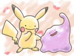 blush_stickers closed_mouth creature full_body gen_1_pokemon happy highres leaf_(pixiv17652941) no_humans open_mouth pikachu pink_background pokemon pokemon_(creature) smile standing transformed_ditto