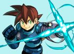 1boy armor blue_background brown_hair cannon closed_mouth commentary_request gauntlets green_eyes hair_between_eyes hankuri male_focus rock_volnutt rockman rockman_dash simple_background smile solo standing