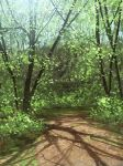artist_request backlighting blue_sky dirt dirt_road forest landscape nature no_humans original scenery shadow sky spring_(season) tree