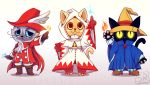 :3 arm_up barefoot black_cat black_mage blue_eyes boots brown_footwear cat final_fantasy fire furrification furry grey_cat hat hood hoodie long_sleeves looking_at_viewer magic no_humans orange_cat pants pointing pointing_up red_mage shoes signature standing star striped striped_pants techranova white_eyes white_mage witch_hat yellow_eyes