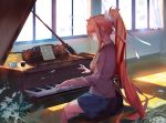 1girl bangs blazer blue_skirt bow breasts brown_hair classroom closed_eyes closed_mouth cup cupcake curtains day doki_doki_literature_club food grey_jacket guratan hair_bow indoors instrument jacket long_hair long_sleeves medium_breasts monika_(doki_doki_literature_club) music piano piano_bench plant playing_instrument playing_piano pleated_skirt ponytail potted_plant ribbon school school_uniform sheet_music sidelocks sitting skirt solo sunlight tea teacup white_bow white_ribbon window