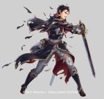 1boy black_hair book boots brown_eyes capelet company_name cuboon fire_emblem fire_emblem:_thracia_776 fire_emblem_heroes full_body gloves grey_background male_focus official_art reinhardt_(fire_emblem) simple_background solo sword teeth torn_clothes weapon