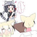 2girls alternate_costume animal_ears apron back_bow blonde_hair blur blush bow bowtie check_translation chibi_inset commentary_request common_raccoon_(kemono_friends) dress enmaided eyebrows_visible_through_hair fang fennec_(kemono_friends) fox_ears full-face_blush gloves grey_hair hair_bow hair_tie heart heart_hands highres kemono_friends maid maid_apron maid_headdress makuran multicolored_hair multiple_girls partially_translated raccoon_ears raccoon_tail short_hair sitting tail translation_request white_hair