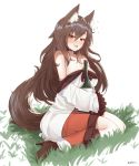 1girl animal_ears bare_shoulders between_breasts blush boots bottle breasts brown_eyes brown_footwear brown_hair cleavage commentary dress drunk ehrrr full_body grass hair_between_eyes high_heels highres imaizumi_kagerou large_breasts long_hair nose_blush open_mouth shiny shiny_hair simple_background sitting solo tail touhou white_background white_dress wide_sleeves wolf_ears wolf_tail yokozuwari
