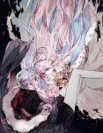 1boy 1girl anastasia_(fate/grand_order) check_commentary commentary_request fate/grand_order fate_(series) fur_coat fur_trim hand_holding jacket kadoc_zemlupus mo_(mocopo) touching white_hair