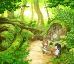 2girls :< :d barrel black_hair blush cabinet cervus character_request closed_eyes commentary_request cup door dress food forest grass green hakumei_to_mikochi highres japanese_clothes lantern long_hair long_sleeves minigirl mouse multiple_girls nature open_mouth orange_hair outdoors path plant potted_plant road roots sash sign sitting smile stool table tree