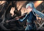 1girl amestris_military_uniform anonamos blue_eyes cosplay fullmetal_alchemist gun rifle riza_hawkeye riza_hawkeye_(cosplay) rwby scar scar_across_eye sniper_rifle solo war weapon weiss_schnee white_hair