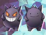 aqua_background creature ditto evil_smile full_body gen_1_pokemon gengar ghost no_humans orange_eyes ourin pokemon pokemon_(creature) purple_background smile standing transformed_ditto