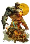 aircraft beam_saber building carlos_dattoli damaged debris dirty energy_sword explosion fake_ad fangs fire flying gipsy_avenger glowing helicopter highres jaws logo machinery mecha monster official_style pacific_rim:_uprising realistic rubble ruins saber_athena science_fiction scrapper_(jaeger) sword weapon