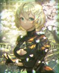 1girl black_dress blonde_hair breasts cherry_blossoms chromatic_aberration cleavage cleavage_cutout commentary_request dress green_eyes hair_between_eyes kaburagi_yasutaka light_smile looking_at_viewer mole mole_under_mouth nier_(series) nier_automata no_blindfold short_hair solo upper_body v yorha_no._2_type_b