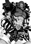 1girl blackcat_(pixiv) clenched_hands commentary detached_sleeves dithering glint graphite_(medium) greyscale hands_on_hips highres hisou_tensoku kochiya_sanae laughing mecha monochrome open_mouth shirt shoes skirt socks solo standing_on_shoulder steam touhou traditional_media translation_request
