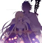 1boy 1girl ahoge artoria_pendragon_(all) blonde_hair blue_cape blue_dress bruise cape commentary_request dress excalibur fate/stay_night fate_(series) fur_trim green_eyes holding holding_staff holding_sword holding_weapon hood hood_down hooded_cape injury korean long_hair merlin_(fate/stay_night) one_eye_closed pointy_ears purple_hair robe saber seucapeu simple_background staff standing sword weapon white_background