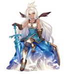 1girl ahoge armor armored_dress boots breastplate commentary_request dark_skin dress gloves granblue_fantasy ice leather leather_gloves long_hair looking_at_viewer red_eyes shield short_dress sitting slee solo sword the_order_grande thigh-highs weapon white_hair