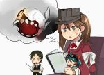 3girls ahoge annin_musou black_hair book brown_eyes brown_hair comic commentary_request fairy_(kantai_collection) floating_fortress_(kantai_collection) gloves goggles goggles_on_head green_hair hair_ornament hairclip highres holding holding_book japanese_clothes kantai_collection kariginu kuroshio_(kantai_collection) long_sleeves magatama multiple_girls reading remodel_(kantai_collection) ryuujou_(kantai_collection) scarf shinkaisei-kan short_hair short_sleeves sweatdrop twintails visor_cap