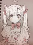 1girl :o animal_ears atobesakunolove black_cat_d.va blush bow bowtie cat_ears dated eyebrows_visible_through_hair hair_bow heart heart_hands highres looking_at_viewer monochrome overwatch parted_lips photo puffy_short_sleeves puffy_sleeves short_sleeves signature solo traditional_media twintails upper_body