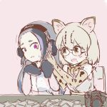 2girls animal_ears bare_shoulders black_hair blonde_hair blush bow bowtie camera cat_ears commentary_request elbow_gloves giant_penguin_(kemono_friends) gloves grey_hair headphones hood hoodie kemono_friends long_hair long_sleeves margay_(kemono_friends) margay_print multicolored_hair multiple_girls photo_(object) pink_eyes short_hair suginakara_(user_ehfp8355 sweatdrop vest yellow_eyes