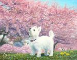 akashi_kaikyou animal calligraphy_brush calligraphy_brush_(medium) cherry_blossoms collar commentary_request day dog no_humans original paintbrush scenery spring_(season) traditional_media white_fur