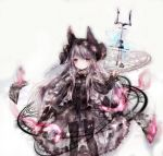 1girl animal_ears animal_hat azur_lane bangs black_dress black_footwear black_hat black_legwear book boots closed_mouth cross-laced_footwear dress erebus_(azur_lane) eyebrows_visible_through_hair gothic_lolita grey_background hat holding knee_boots lace-up_boots lolita_fashion long_hair long_sleeves looking_at_viewer magic_circle open_book pantyhose razurimu red_eyes silver_hair simple_background sleeves_past_wrists solo standing very_long_hair
