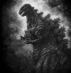 absurdres claws commentary_request from_side godzilla godzilla_(series) highres kaijuu katou_yuu monochrome monster no_humans open_mouth sharp_teeth shin_godzilla small_hands spikes standing teeth
