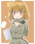 /\/\/\ 1girl :t bangs blonde_hair blue_eyes blush brown_background cbgb closed_mouth commentary_request cup eyebrows_visible_through_hair girls_und_panzer green_jumpsuit holding katyusha looking_at_viewer military military_uniform mouth_hold mug short_hair solo standing steam surprised sweatdrop uniform upper_body