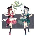 2girls apron bamboo black_legwear blue_eyes bow bowtie brown_hair dress frilled_skirt frills green_dress green_footwear grey_background grey_hair hand_up hat high_collar highres holding_plant kneehighs long_hair looking_at_viewer mary_janes multiple_girls myouga_(plant) nishida_satono open_hand open_mouth pink_dress pink_footwear puffy_short_sleeves puffy_sleeves red_bow shayuheisi shoes short_sleeves sidelocks skirt smile standing standing_on_one_leg tate_eboshi teireida_mai touhou two-tone_background waist_apron white_background yellow_bow