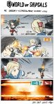4koma absurdres afterimage comic commentary dress funnels fusou_(kantai_collection) gameplay_mechanics greythorn032 hair_bun hair_ornament highres kantai_collection long_hair motion_lines mushroom_cloud naval_flag nontraditional_miko pagoda sailor_dress soviet_navy torpedo turret world_of_warships