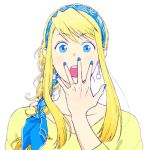 1girl :o bangs blonde_hair blue_eyes blue_nails braid earrings eyebrows_visible_through_hair eyelashes fingernails fullmetal_alchemist hanayama_(inunekokawaii) hand_on_own_face jewelry long_hair long_sleeves looking_at_viewer nail_polish open_mouth ring shirt simple_background solo_focus upper_body white_background winry_rockbell yellow_shirt