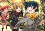 3girls absurdres aqua_eyes argyle argyle_scarf bangs black_coat black_legwear blue_hair blurry blush bokeh brown_hair christmas_lights clenched_hand depth_of_field duffel_coat grey_coat grey_skirt hand_holding highres kneehighs kunikida_hanamaru kurosawa_ruby long_hair long_sleeves looking_back love_live! love_live!_sunshine!! miniskirt multiple_girls pantyhose pink_coat pleated_skirt redhead scarf side_bun skirt striped striped_scarf tsushima_yoshiko two_side_up violet_eyes vorupi winter_clothes yellow_eyes yellow_scarf