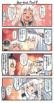 3girls 4koma :d ^_^ ^o^ bismarck_(kantai_collection) black_sailor_collar blonde_hair blue_eyes blush_stickers closed_eyes comic commentary_request hair_between_eyes hammer_and_sickle hat hibiki_(kantai_collection) highres ido_(teketeke) kantai_collection long_sleeves military military_uniform multiple_girls open_mouth peaked_cap ro-500_(kantai_collection) sailor_collar sailor_shirt shaded_face shirt silver_hair smile speech_bubble thought_bubble translation_request uniform verniy_(kantai_collection) white_hat white_shirt