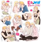 /\/\/\ 1boy 1girl ;d apron automail black_shirt blonde_hair blue_eyes blue_shirt blush book breasts carrying character_name closed_eyes couple earrings edward_elric eye_contact eyebrows_visible_through_hair face-to-face fingernails frown fullmetal_alchemist grey_shirt hanayama_(inunekokawaii) hands_on_another's_face hands_together happy heart hetero hug interlocked_fingers jewelry long_hair long_sleeves looking_at_another looking_back looking_up lying one_eye_closed open_mouth pants pink_shirt pink_sweater ponytail profile sandals shirt simple_background sitting sleeping sleeveless smile speech_bubble sweater tank_top thought_bubble translation_request underwear upper_body white_background white_shirt winry_rockbell yellow_eyes