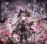 1girl animal_ears animal_hat azur_lane bangs bare_tree bat black_dress black_footwear black_hat black_legwear book boots castle closed_mouth clouds commentary_request constellation cross-laced_footwear dress erebus_(azur_lane) eyebrows_visible_through_hair full_moon gothic_lolita hat holding knee_boots lace-up_boots lolita_fashion long_hair long_sleeves looking_at_viewer magic_circle moon night night_sky open_book pantyhose razurimu red_eyes silver_hair sky sleeves_past_wrists solo standing tower tree very_long_hair