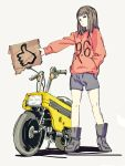 1girl bangs black_eyes black_footwear blue_shorts boots brown_hair cardboard closed_mouth eyebrows full_body ground_vehicle hand_in_pocket highres holding legs_apart long_hair long_sleeves motor_vehicle motorcycle number original pocket red_sweater saitama_(antitankromeo) shadow shorts sign silver_background solo standing straight_hair sweater thumbs_up wheel